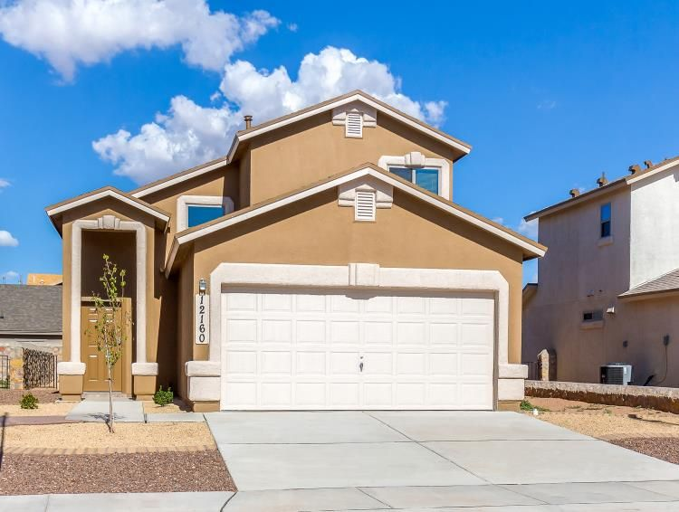 Exterior shot, three-bedroom, two-bathroom, two-story family home with two-car garage in El Paso, Texas
