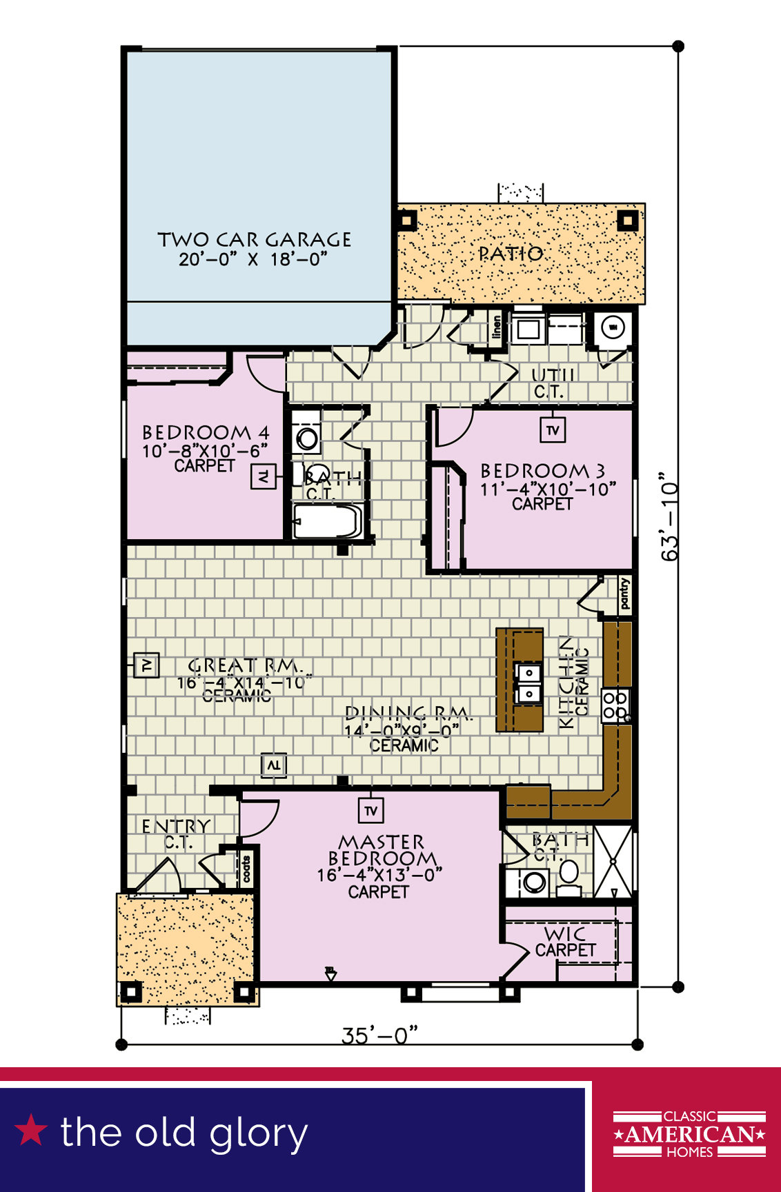 The old glory classic american homes builders in el paso for Classic american homes floor plans